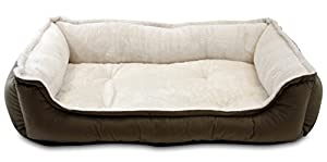 B016Q9J0SGFN Oliver & Iris Rectangle Cuddle Dog Bed, Small, Mocha/Khaki
