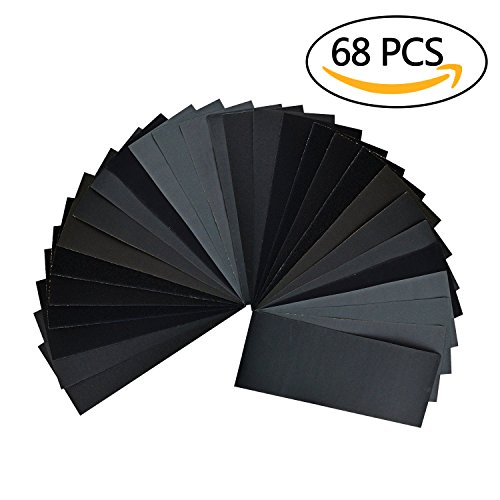 68 Pieces 60 to 3000 Grit Sandpaper Assortment 9 x 36 Inch Dry Wet Sandpaper for Wood Turning Finishing Furniture Finishing Automotive Sanding