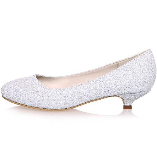 Slip Flowers Shoes For Low White Heels Wedding on Size Bridal Szxf0700 Sarahbridal round With 15 Satin Toe Peep Dresses Party Girls nwO4Cv