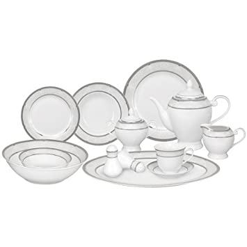 Amazon.com | Lorren Home Trends 57-Piece Porcelain Dinnerware Set with Silver Accent Border Service for 8 Dinnerware Sets  sc 1 st  Amazon.com & Amazon.com | Lorren Home Trends 57-Piece Porcelain Dinnerware Set ...
