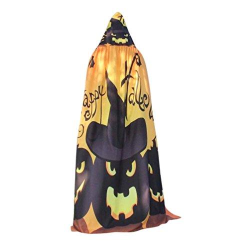 Uniques Costumes (Halloween Costume, Litetao 2017 New Fashion Novelty Pumpkin Print Cape Scarf Shawl (Yellow))