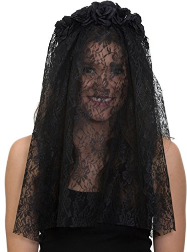 [Black Day of the Dead Floral Headband with Veil] (Black Veil Bride Costume)