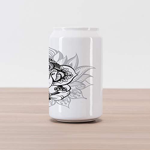 (Ambesonne Asian Cola Can Shape Piggy Bank, Elephant Sitting Inside Majestic Lotus Flower His Pot Belly Spiritual Graphic Print, Ceramic Cola Shaped Coin Box Money Bank for Cash Saving, Black White)