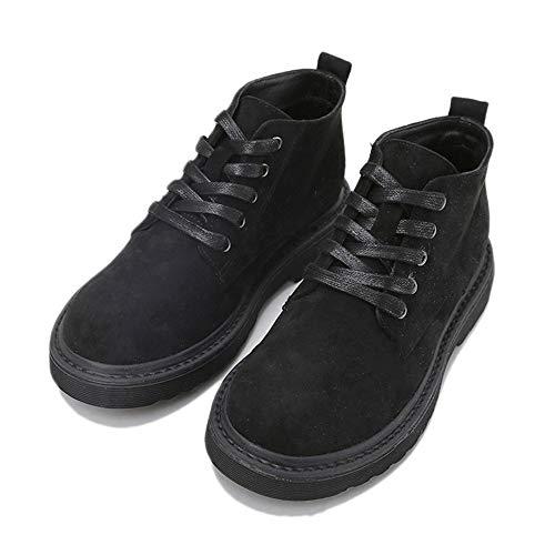 [MerryCo] マーティンブーツ レディース ワークブーツ ショートブーツ ハイカット ラウンドトゥ 革靴 おじ靴 レースアップ スエード 滑り止め 通勤 通学 お出かけ 歩きやすい 黒 ブラック