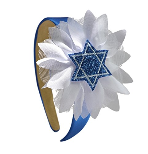 Girls Blue Star of David Chiffon Flower Glitter Arch Hanukkah Headband
