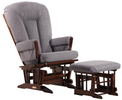 Dutailier 2 Post Multiposition Glider and Ottoman Set in Dark Grey