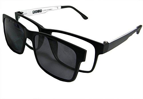 Circleperson Men Eyeglass frame polarized clip on sunshade magnetic glasses 54-17 (Black/white+print lens, Polarized gray clip on) (Magnetic Eyeglass Frame)