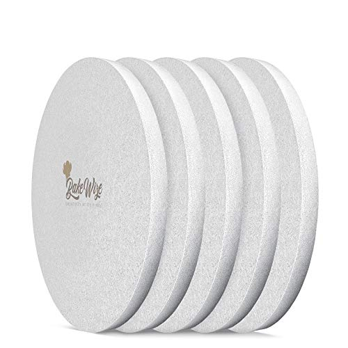 Cake Drum Round - Decorating Drum - Round Board Durable 12 Inch x ½ Inch Thick - Smooth Edge Elegant Design Cake Tray - Embossed Silver Liner - 5 Pack By BakeWize