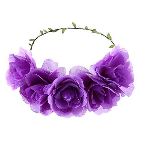 Women's Headband Flower Crown Floral 2019 Festival Wedding Hair Wreath Roses Boho Beach Festival Party (Free, Purple)