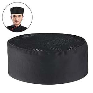 Gorro de malla para cocineros profesionales - Color negro, con cierre de velcro ajustable