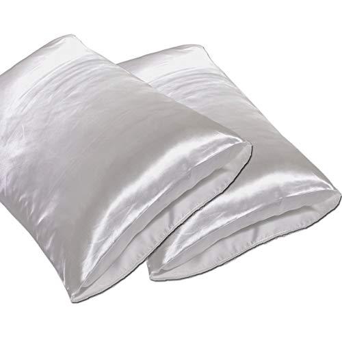 JINHONGRUI Silk Satin Pillowcase for Hair and Skin, Facial Beauty Hypoallergenic, No zipper Pillowcase Covers, Standard, Queen, King Size Pillowcase Set of 2 Pillow Bulk (King, White-2 Pack)