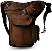 Leather Waist Pack Drop Leg Bag for Men Women Belt Bumbag Multi-Purpose Motorcycle Bike Outdoor Sports Tactica