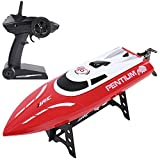 SGILE RC Race Boat,25 KM/H Remote Control Boat for Kid Adult,2.4 GHz 180° Flip High-Speed Boat, Red