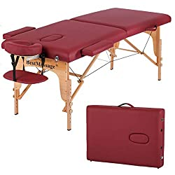 """Massage Table Massage Bed Spa Bed PU Portable 84"""" 2 Fold Heigh Adjustable Massage Table Bed w/Free Carry Case Facial Cradle Salon Tattoo Bed"""