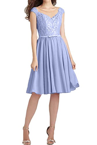 Abendkleider Brautjungfernkleider Ivydressing Spitze Damen Kurz Lavendel Ballkleid Festlich IOYRYx