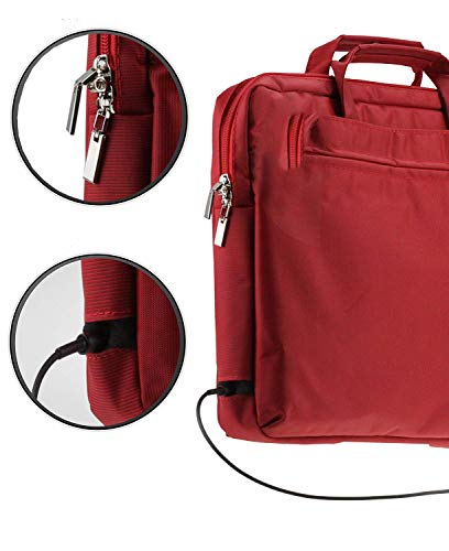 Navitech Red Sleek Premium Messenger/Carry Bag Case Compatible with The The Dell Latitude 3390 2-in-1