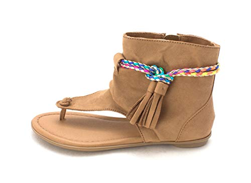 MIA Kids Kids Girls Hayat Zipper Slide Sandals, Tan, Size 1 Girls