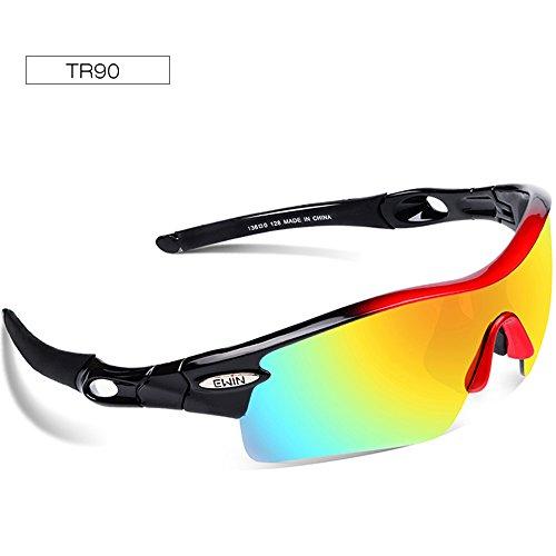 Ewin E12 Polarized Sports Sunglasses, Cycling Glasses with 4 Interchangeable Lenses TR90 Frame Baseball Glasses for Men Women - Bike Best Road Sunglasses