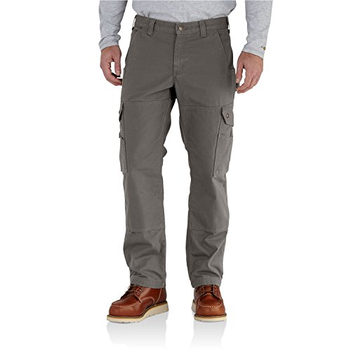 Carhartt Men's Ripstop Cargo Work Pant Flannel Lined, Gravel, 30W X 30L Cotton Lined Work Pants