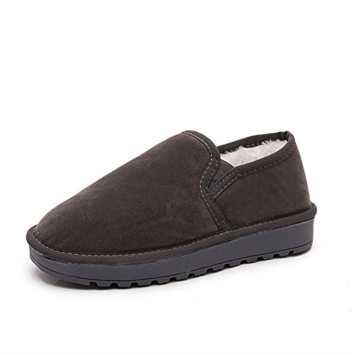 Eagsouni Women Snow Shoes, Winter Warm Anti-Slip Suede Boots Outdoor Soft Breathable Flat Short Ankle Boots Loafers Grey