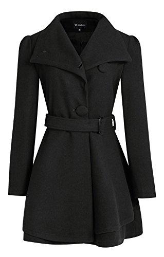 Wantdo Women's Wool Wrap Coat with Belt(Black, Medium)