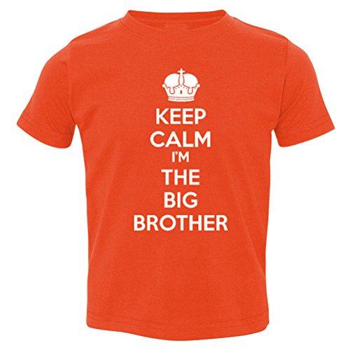 So Relative! Keep Calm I'm The Big Brother Baby-Boys & Kids T-Shirt (Orange, White Print, Youth Medium (10-12) (Heavyweight T-shirt Red Youth)