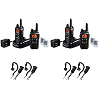 Midland LXT600VP3 FRS/GMRS 26-Mile 36 Channel Two-Way Radios with Midland AVPH4 Headsets, Brand New Sealed 4 PACK