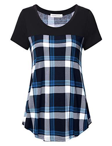 Casual Plaid Women T-shirt - Liamluna Women's Round Neck Color Block Plaid T Shirt Casual Blouse Blue L