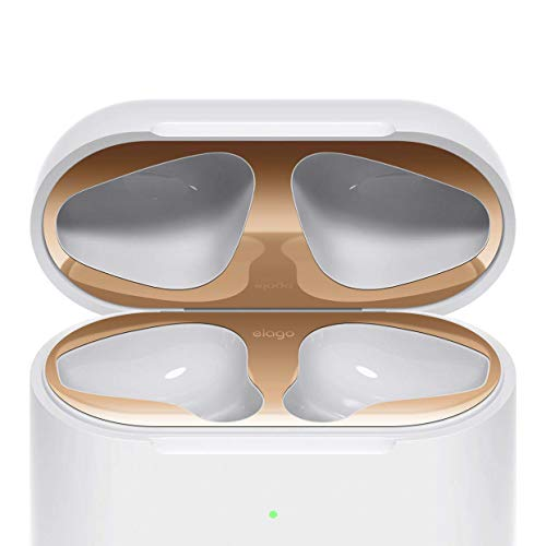 elago Dust Guard for AirPods 2 Wireless Charging Case [Rose Gold][2 Sets] - [18K Gold Plating][Protect AirPods from Iron/Metal Shavings][Watch Installation Video] ()