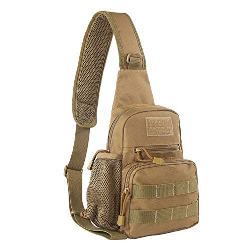 EDOBIL Tactical Bag, Messenger Bag Best Outdoor Sling Bag for Men and Women - Small One Military Bag for Trekking,Camping,Hiking,Cycling Rover Sling Daypack (Khaki)