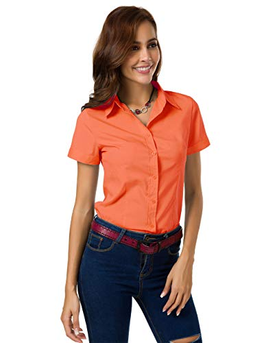 (Mei teer Womens Formal Button Down Shirts Short Sleeve Shirts Slim Fit Blouse for Work Summer Tops (Large, Orange))