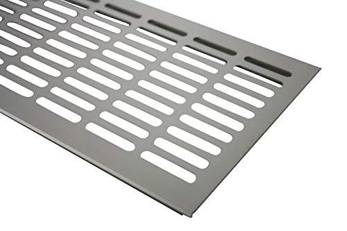 Rejilla de ventilaci/ón aluminio, 130 x 600 mm, aspecto de acero anodizado