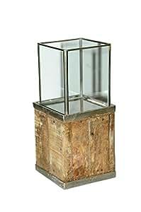 Columna–Madera–12cmx14cmx31cm–con cristal–Columna decorativa