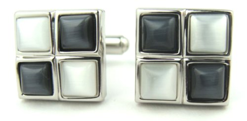 Charcoal Gray & White Cats Eye Cufflinks Gift Boxed