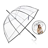 Rainbrace Clear Umbrella Big Arc 52'' Transparent Clear Bubble Umbrella for Adult