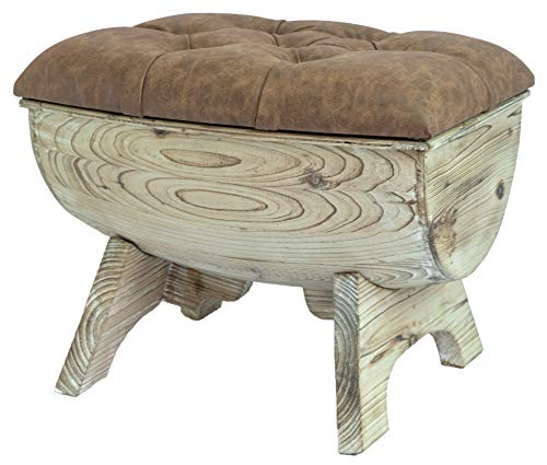 (Vintiquewise QI003432.B Vintage Wooden Wine Barrel Storage Bench with Leather Tufted Top, Brown)