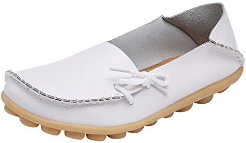 Fangsto Womens Cowhide Leather Slipper Loafers Flat Shoes Slip-Ons Sty-1 White 8jvV2fdS