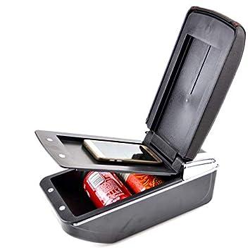 Reposabrazos de piel negra de doble capa para 2010-2017 Polo Mk5 Vento reposabrazos consola central caja de almacenamiento