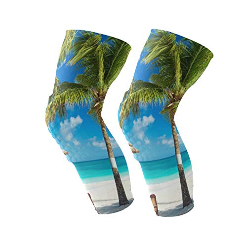 Lounger Leg (Knee Sleeve Sunny Beach Coconut Trees and Loungers Full Leg Brace Compression Long Sleeves Pant Running, Jogging, Sports, Crossfit, Basketball, Joint Pain Relief, Men and Women 1 Pair)