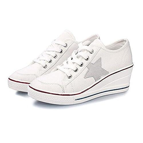 9d014441ca5 Wealsex Mujer Lona de La Cuna de Tacon Cerrado Deporte Zapatos Cordones 6  cm Zapatos de