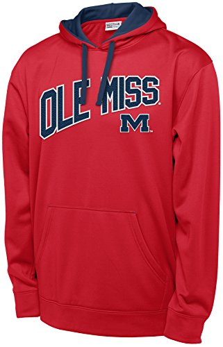 Hood Athletic Majestic (NCAA Mississippi Old Miss Rebels Long Sleeve Pullover Hood, X-Large, Red)