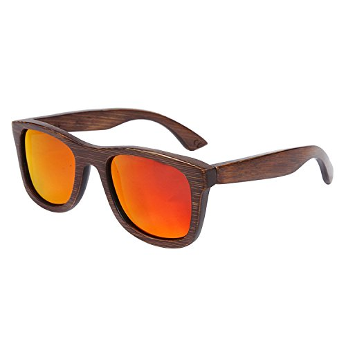 JapanX Bamboo Sunglasses & Wood Wooden Sunglasses for Men Women, Polarized Lenses with Gift Box – Wooden Vintage Wayfarer Sunglasses - Bamboo Wood Wooden Frame – New Style Sunglasses (A2 - Suppliers Stand Display Sunglasses