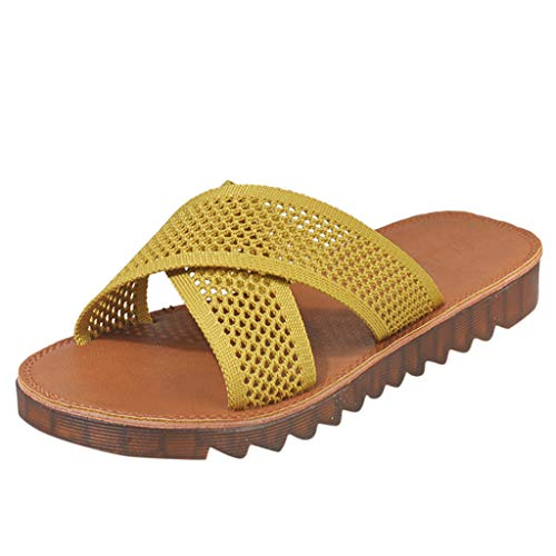✔ Hypothesis_X ☎ Women's Casual Shoes Hollow Breathable Flat Slippers Outdoor Slippers Flat-Heeled Shoes Yellow