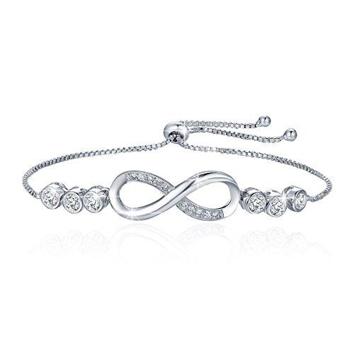 BAMOER 925 Sterling Silver Double Heart Bracelet Adjustable Chain Bracelets Women Girls (Silver Double Chain Bracelet)