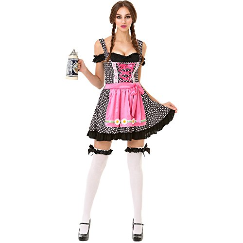 Oktoberfest Beer Maid Women's Halloween Costume Sexy Bar Maid Lederhosen Dress]()