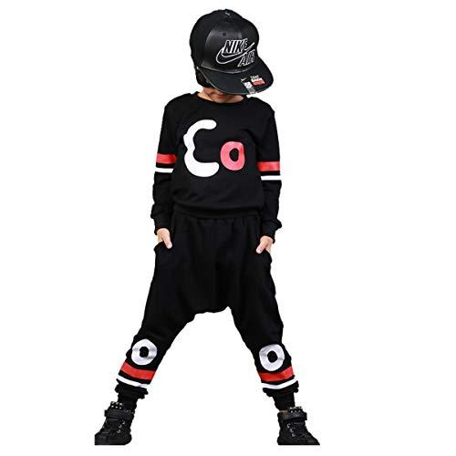 Boys Cotton 2PCS Clothing Sets Kids Long Sleeve Top Pant Set (12-13 Years/Tag 160, Black T-Shirt + Black Pant) by Haoguagua (Image #1)