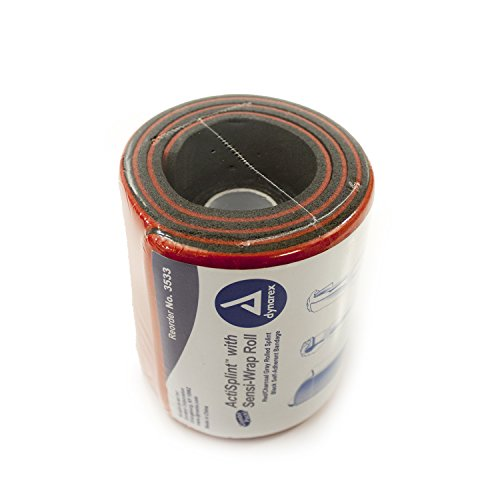 Dynarex ActiSplint with Sensi-Wrap - Malleable Aluminum with Foam Padding - Red/Charcoal Gray Rolled with Self-Adherent Bandage - 36