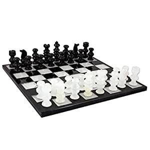 NOVICA White Black Marble Chess Sets 'Classic'