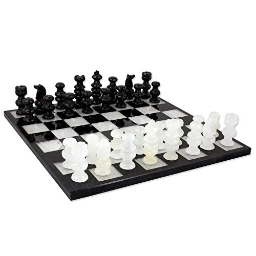 NOVICA White Onyx and Black Marble Hand Carved Stone Chess Set 'Classic'