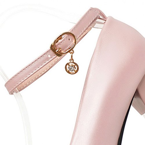 High Women's Pink Solid Heels Shoes Buckle Pumps VogueZone009 PU dt7SSq